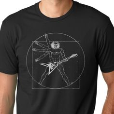 Vitruvian man Guitar player funny T-shirt music humor tee