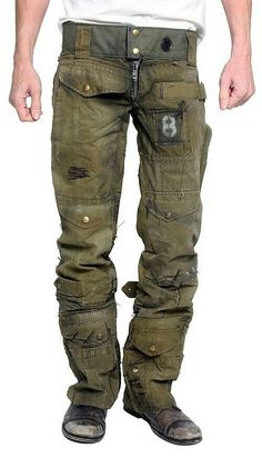 Men's JUNKER Designs ''CALL OF DUTY'' Custom Army Pants is part of Army pants - Shop the most sought after designer fashion Custom pieces, made to order, as well as a selection of some of the most hard to find luxury goods Tactical Pants, Tactical Clothing, Moda Steampunk, Moda Rock, Post Apocalyptic Fashion, Post Apocalyptic Clothing, Army Pants, Diy Vetement, Call Of Duty