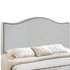 Complete your bedroom with the Modway LexMod Curl Nailhead Upholstered Headboard. With a fashionable nail button trim and linen upholstery, this headboard is sure is sure to add a modern touch to any bedroom décor. Full Headboard, Queen Headboard, Panel Headboard, Headboard Ideas, Contemporary Headboards, Contemporary Furniture, Gray Furniture, Unique Furniture, Furniture Decor