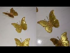 Craft ideas for home decor Origami Butterfly, Butterfly Wall Art, Butterfly Crafts, Diy Flowers, Fabric Flowers, Crafts To Do, Home Crafts, Cardboard Crafts, Paper Crafts