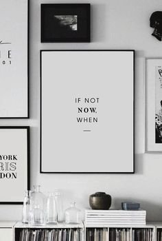 Printable Art - If not Now, when - Printable Wall Art - Wall Decor - Home Decor - Digital Print - Motivation Print - Quote Prints - Digital - Wandkunst Office Wall Decor, Office Walls, Wall Art Decor, Black Wall Decor, Office Artwork, Map Wall Art, Wall Decorations, Framed Quotes, Wall Art Quotes