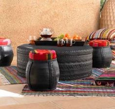 Table and ottomans from old tires