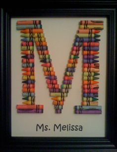 If I ever landed an Elementary job, you bet your life I will have one of these. Teacher Appreciation Gifts, Teacher Gifts, Craft Gifts, Diy Gifts, Crafts To Make, Crafts For Kids, Initial Art, Crayola, School Gifts