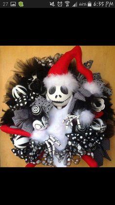 PRE ORDER, Nightmare Before Christmas, Jack skellington, Christmas wreath For shipment last week of November 2014 Halloween Christmas, Christmas Themes, Halloween Crafts, Halloween Decorations, Christmas Crafts, Halloween Wreaths, Xmas, Christmas Ornament, Ornaments