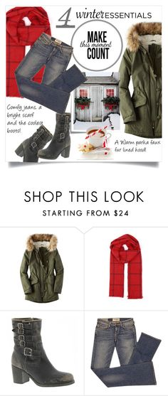 """""""Four must have winter essentials"""" by theworldisatourfeet ❤ liked on Polyvore featuring Post-It, American Eagle Outfitters, Frye, Elizabeth and James and winteressentials"""