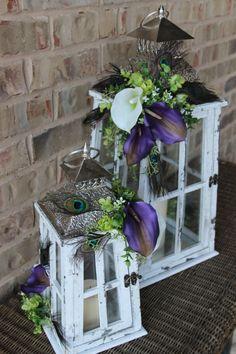 Set of 2 Peacock Lanterns- Peacock Home Decor, Purple & white wedding Centerpieces.  Peacock Wedding Centerpiece. By LittleBitMyStyle