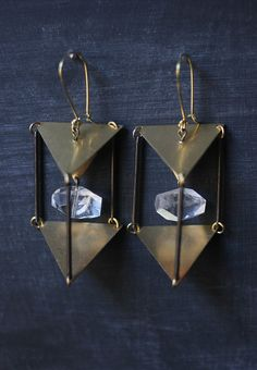 raw brass and crystal nugget cage earrings at owlandlark.etsy.com