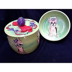 "Yorkshire Terrier 6"" Dog Bowl for Food or Water and Treat Jar. Personalized at no Charge. Signed by Artist, Debby Carman. ~ If you want to know more, click on the image. (This is an affiliate link and I receive a commission for the sales)"
