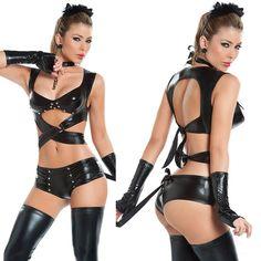 Ladies Halloween Cosplay Costume Black Catwoman Style Clubwear Backless Top Pants Nightclub Pub Bar Clothing