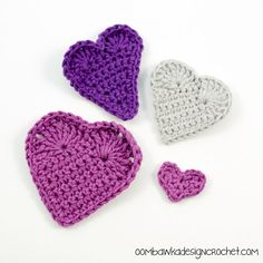 Hearts Love & Valentine's Day - Learn How to Crochet Hearts 3 Different Ways @OombawkaDesign