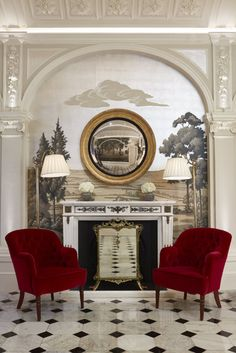 Fromental wallpaper at The Goring Hotel, London. Also, chairs.