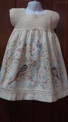 """Painted Muslin. seriously cute dress! [   """"Hand Painted, Hand Crocheted Muslin Dress with Chickadees and Spring Blossoms"""" ] #<br/> # #Cute #Flower #Girl #Dresses,<br/> # #Cute #Dresses,<br/> # #Girls #Dresses,<br/> # #Flower #Girls,<br/> # #Muslin #Dress,<br/> # #Spring #Blossom,<br/> # #Chickadees,<br/> # #The #Dress,<br/> # #Blossoms<br/>"""