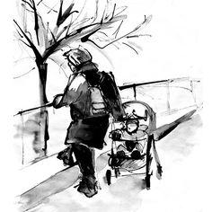 Poésie parisienne - Dessin,  28x28 cm ©2012 par Céline VIOLET -