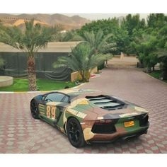Beautiful shot of a Camo Lamborghini Aventador