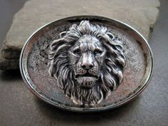 Oxidized Silver Brass Steampunk Lion Belt Buckle by OneFortyFive
