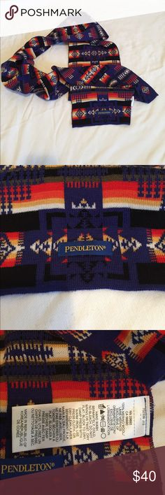Pendleton Wool Scarf New without tags Pendleton wool scarf. Classic Pendleton print. Wool. Never worn or used. Excellent condition. Blue primary base with white, grey, yellow, red and orange.  Length: 188 cm Pendleton Accessories Scarves & Wraps