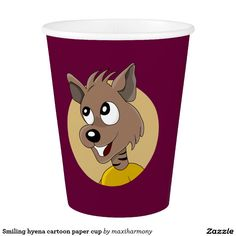 Smiling hyena cartoon paper cup