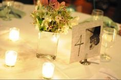 Centerpieces :  wedding Centerpieces but with a mirror plate underneath