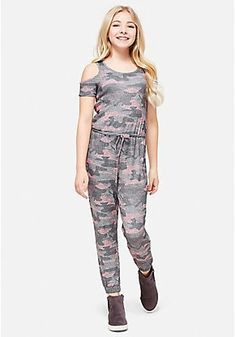 Camo Cold Shoulder Jumpsuit Rompers For Teens, Girls Rompers, Justice Clothing, Justice Outfits, Hot Outfits, Girl Outfits, Cute Dresses, Girls Dresses, Cute Baby Girl Images