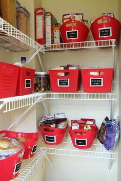 Kitchen Pantry Makeover - Red Containers are from The Dollar Tree - Kitchen Decor Office Desk Organization, Kitchen Organization Pantry, Kitchen Pantry, Organized Kitchen, Pantry Ideas, Pantry Room, Organization Station, Kitchen Worktop, Organization Hacks