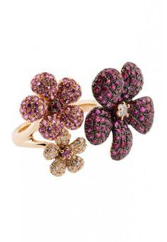 Jardin Bloom Sapphire, Ruby & Diamond Ring, 3.45 TCW