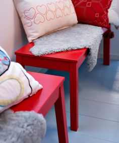 Standard benches in a saturated hue add fun perches in underused space. | SIGURD bench in red, @IKEA USA