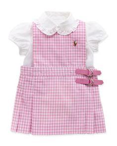 Z16CD Ralph Lauren Childrenswear Gingham Jumper Set, Pink, 9-24 Months