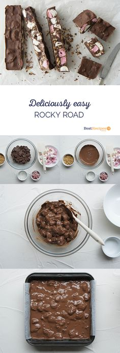 "- Rocky Road Rocky Road in 5 simple steps – ""Have made this twice in the past week, once with dark chocolate and once with milk chocolate. Both are equally delicious. Xmas Food, Christmas Cooking, Delicious Desserts, Dessert Recipes, Yummy Food, Cake Stall, Cupcakes, Cakepops, Christmas Treats"