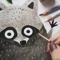 Un vistazo del proyecto que estoy haciendo ahora mismo. Solo os cuento que está lleno de animalillos of course! /// Sneak peek of the project I'm currently working on. It is full of forest animals of course! by carmensaldana_illustration Racoon, Woodland Creatures, Watercolor Animals, Graphic Illustration, Raccoon Illustration, In Kindergarten, Animal Drawings, Art Day, Character Design