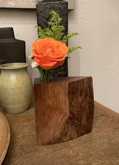 Live edge bud vase Custom Wood Furniture, Live Edge Furniture, Furniture Making, Spalted Maple, Votive Holder, Conference Table, Bud Vases, Mantle, Craftsman