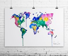 World map Art Print from my Original Watercolor Painting