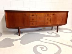 mid century modern credenza sideboard  in teak with by dsartereno