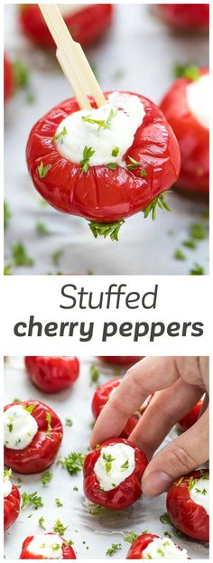 Stuffed Cherry Peppers Appetizer Recipe - hot red cherry peppers, stuffed with a creamy mixture of cream cheese and feta. Great appetizer year round.