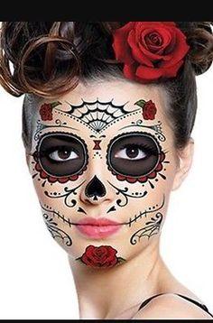 3 Día De Los Muertos Dia De Los Muertos cara Tatuajes Calavera Halloween Disfraz