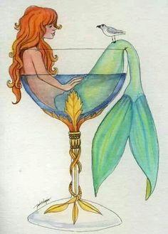 'Mermaid in a Glass' Drawing Fantasy Mermaids, Real Mermaids, Mermaids And Mermen, Mythical Creatures, Sea Creatures, Mermaid Fairy, Mermaid Glass, Merfolk, The Little Mermaid
