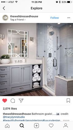 Get inspired for your next bathroom remodel with these 50 beautiful bathrooms th. inspired for your next bathroom remodel with these 50 beautiful bathrooms that feature luxury fi. Next Bathroom, Bathroom Renos, Bathroom Tiling, Bathroom Grey, Shower Tiles, Bathroom Layout, Shower Doors, Stone Bathroom, Wood Floor Bathroom