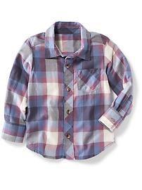 Plaid Flannel Button-Front Shirt