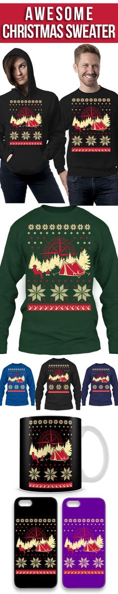 Camping Ugly Christmas Sweater! Click The Image To Buy It Now or Tag Someone You Want To Buy This For. #camping (Winter Camping Hacks)