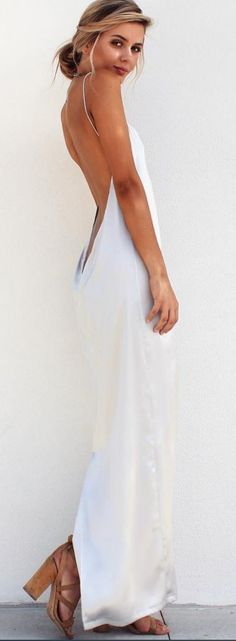 #summer #musthave #outfits |Hot Back Satin Slip Maxi Dress