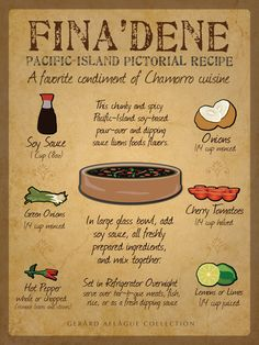 This is a Finadene Recipe Board Fine Art Poster Print Illustration. Guam Recipes, Filipino Recipes, Asian Recipes, Gourmet Recipes, Cooking Recipes, Healthy Recipes, Oriental Recipes, Hawaiian Recipes, Asian Foods