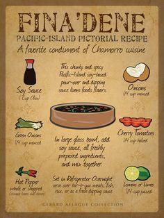 This is a Finadene Recipe Board Fine Art Poster Print Illustration. Guam Recipes, Filipino Recipes, Asian Recipes, Gourmet Recipes, Cooking Recipes, Healthy Recipes, Oriental Recipes, Hawaiian Recipes, Asian Foods