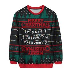 Stranger Things ❤ liked on Polyvore featuring tops, sweaters, shirts, ugly xmas sweater, xmas sweaters, holiday party tops, party tops and ugly christmas sweater shirt