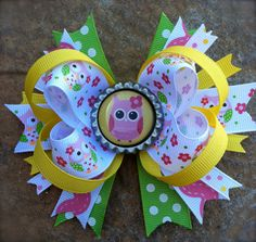 OWL HAIR BOW Summer Hair Bow Stacked Boutique by PolkaDotzBowtique, $6.99