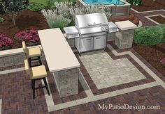 Great grill station idea for slide-in grills with side burners.  This grill station features a bar that can be used for food preparation.