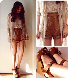Loving the Earthy look. Passion For Fashion, Love Fashion, Girl Fashion, Fashion Looks, Summer Shorts Outfits, Short Outfits, Pretty Outfits, Cool Outfits, Spring Summer Fashion