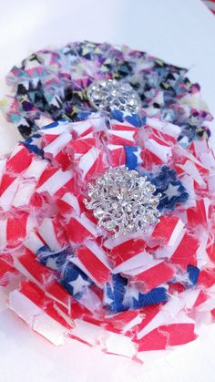 Shabby Chic Red White and Blue Pin/Brooch, Patriotic, military, made in USA
