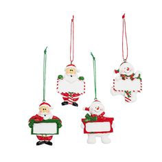 Snowman & Santa Personalized Christmas Ornaments - OrientalTrading.com