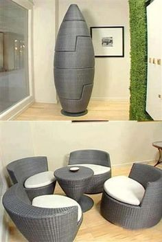 Space Saving | Chair Puzzle  Really cool.