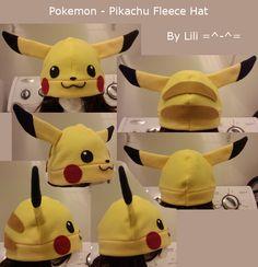 DeviantArt on LiliNeko by Pikachu Fleece Hat Pikachu Hat, Pokemon Hat, Pikachu Costume, Diy Baby Costumes, Halloween Costumes, Fleece Projects, Sewing Projects, Fleece Hat Pattern, Fleece Patterns