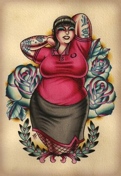 By Nick the Barbarian. Yeah, someone got that ink on their body forever. Step back tiny, fat girls rock. Tattoo Girls, Girl Tattoos, Tatoos, Illustrations, Illustration Art, Skinhead Tattoos, Dibujos Pin Up, Art Beauté, Skinhead Girl
